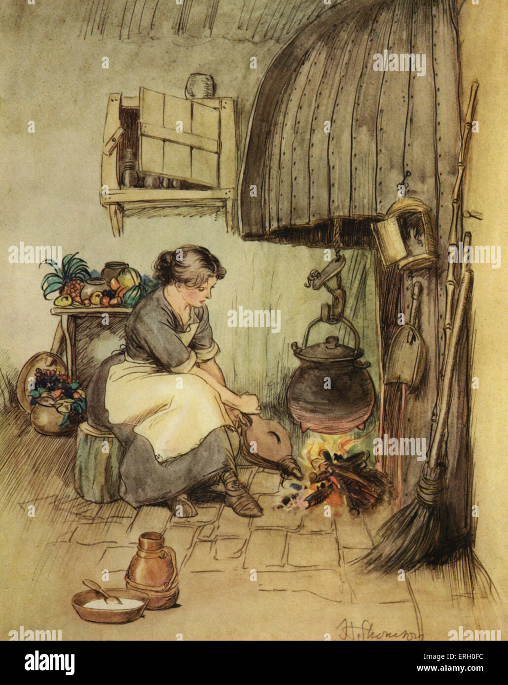 J M Barrie 'The Admirable Crichton' comedy written in 1902. Act III (The Happy Home): Tweeny, alone among the women, Stock Photo