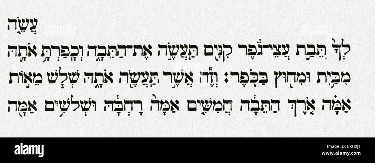 Noah's Ark - Genesis.  Hebrew characters from Genesis VI, verse 14:  'Make thee an ark of gopher wood: with - Stock Image