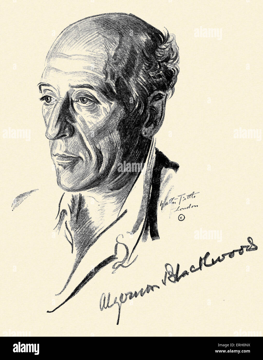 Algernon Blackwood, (1869-1951) English writer of fiction dealing with the supernatural. Portrait by Walter Tittle. - Stock Image