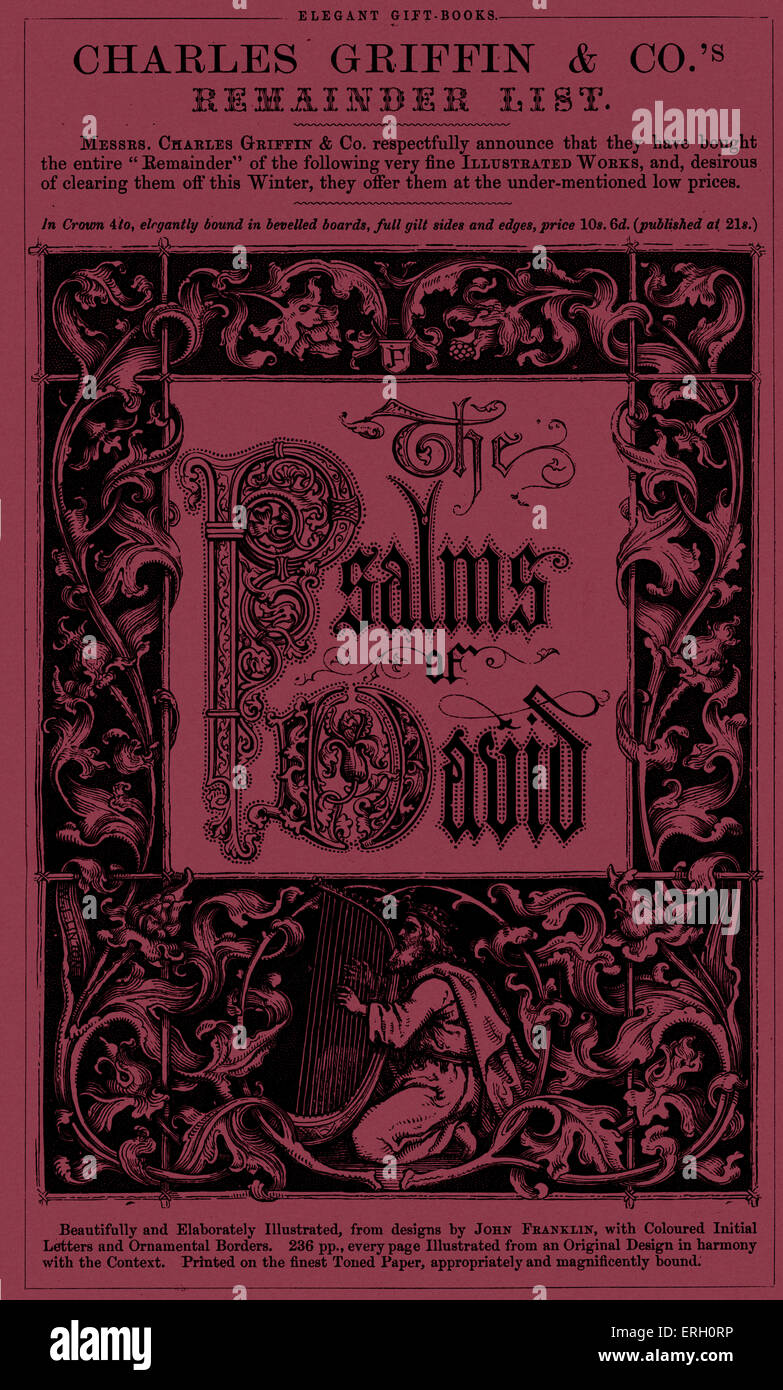 Charles Griffin & Co.'s Remainder List - Psalms Of David. Illustrated from designs by John Franklin. (from Gems Stock Photo