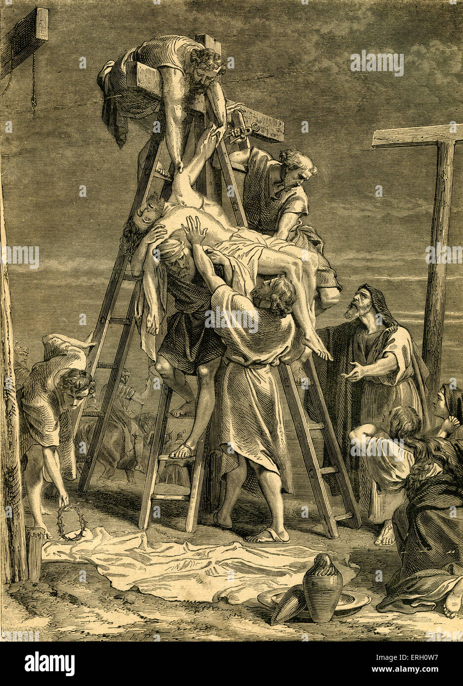 The Taking Down from the Cross, Mark XV. From Cassell's Illustrated Family Bible.  Depicting Jesus being taken - Stock Image