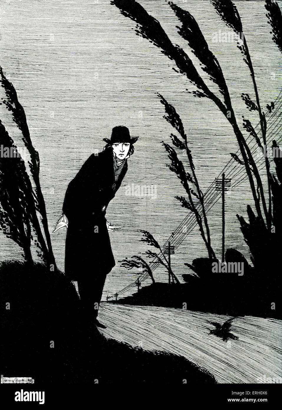 Midst of all was a cold white face - Black and White, a poem by H.H. Abbott. Illustration by Harry Clarke.    HC: - Stock Image