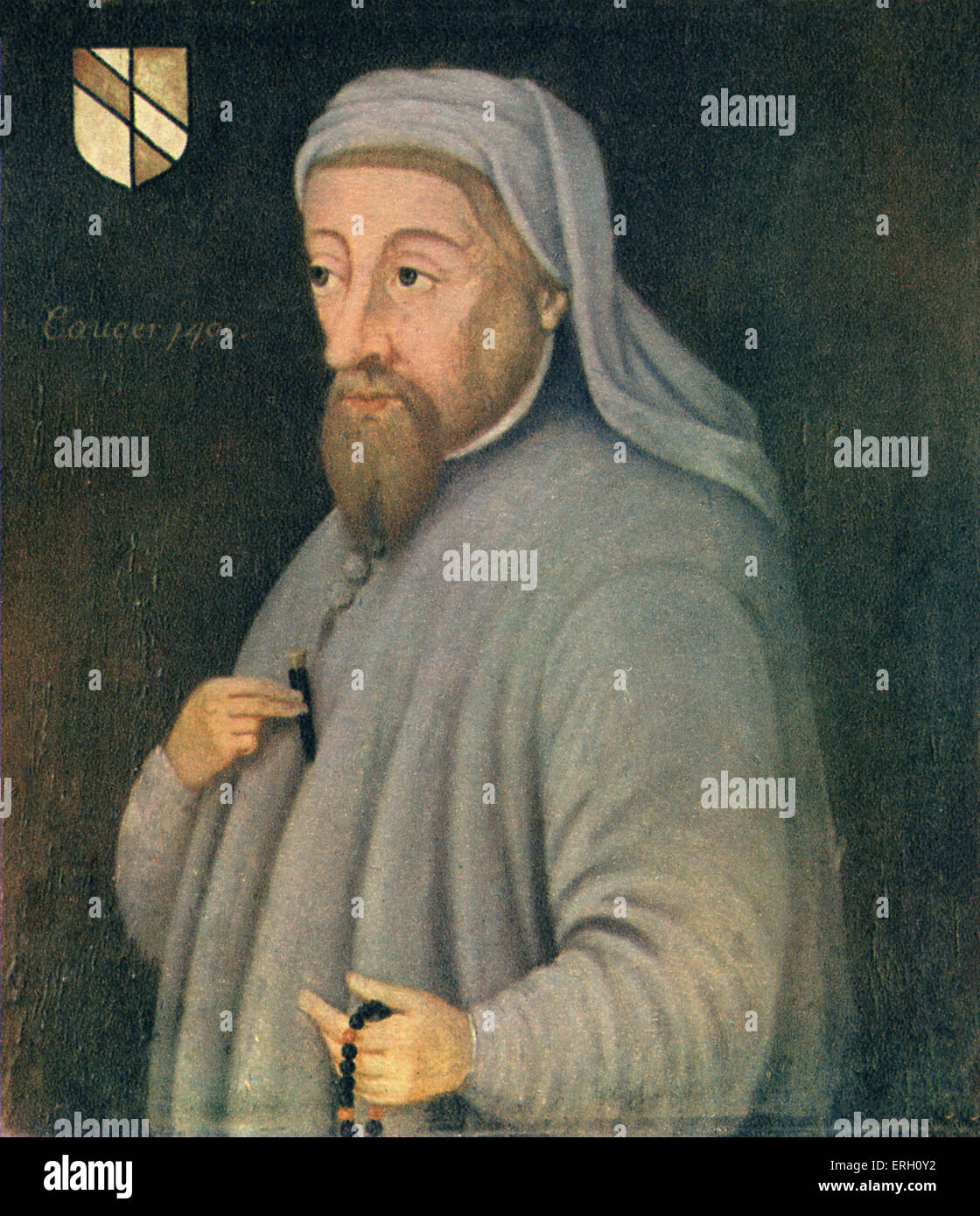 Geoffrey Chaucer portrait. English author, poet and philosopher: c 1343 – October 25, 1400.( Bodleian Library.) - Stock Image