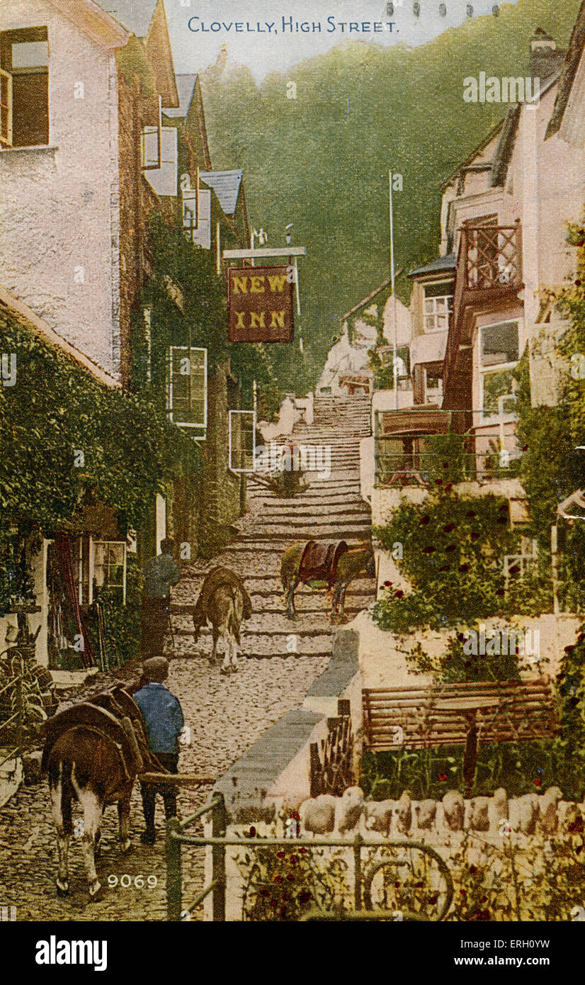 Clovelly High Street in North Devon.  Small fishing village with cobbled streets,unchanged in 21st century unchanged,Charles - Stock Image