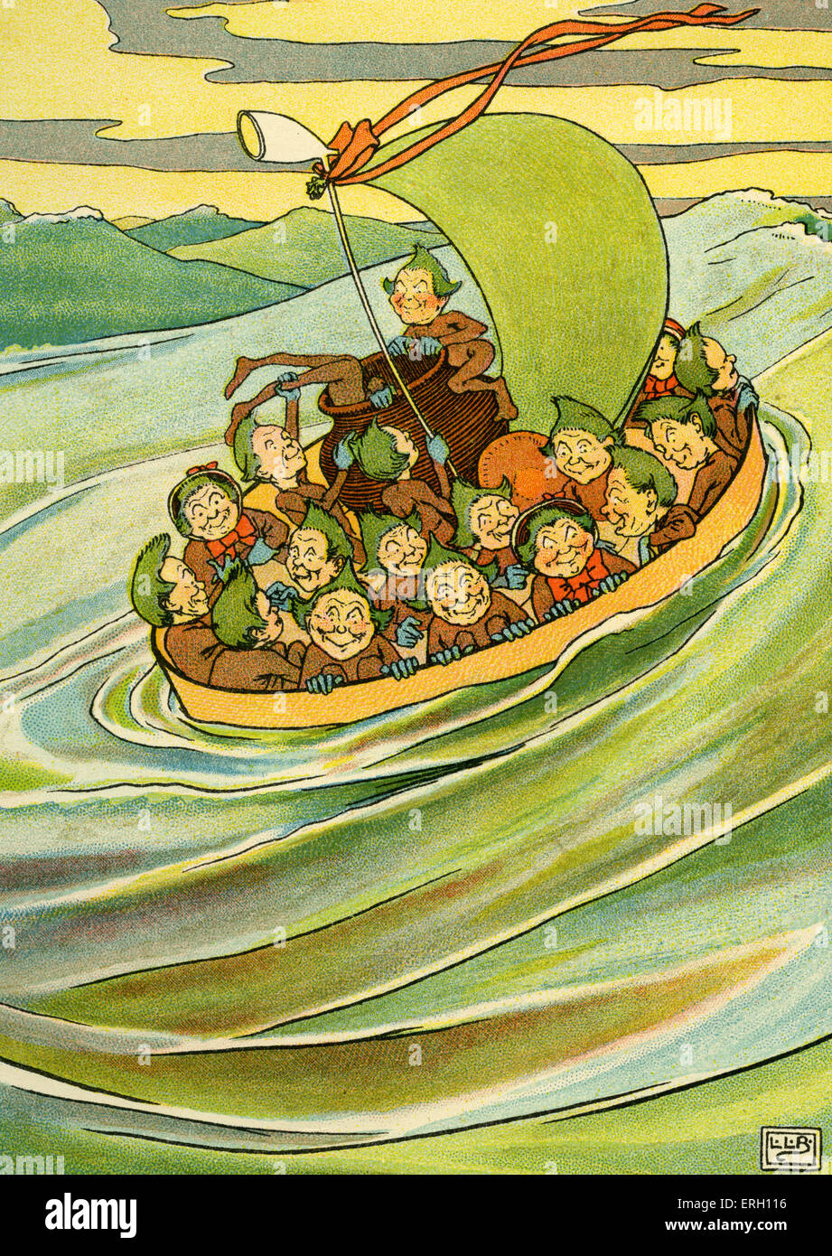 Edward Lear 's The Jumblies: 'They went to sea in a Sieve, they did'. Illustration by L. Leslie Brooke - Stock Image