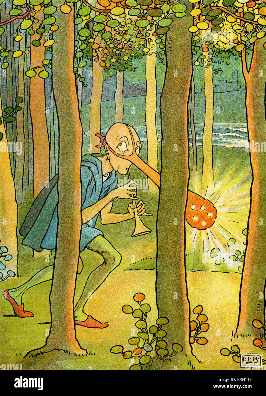 The Dong with a luminous nose by Edward Lear: 'The wandering Dong through the forest goes'. Illustration - Stock Image