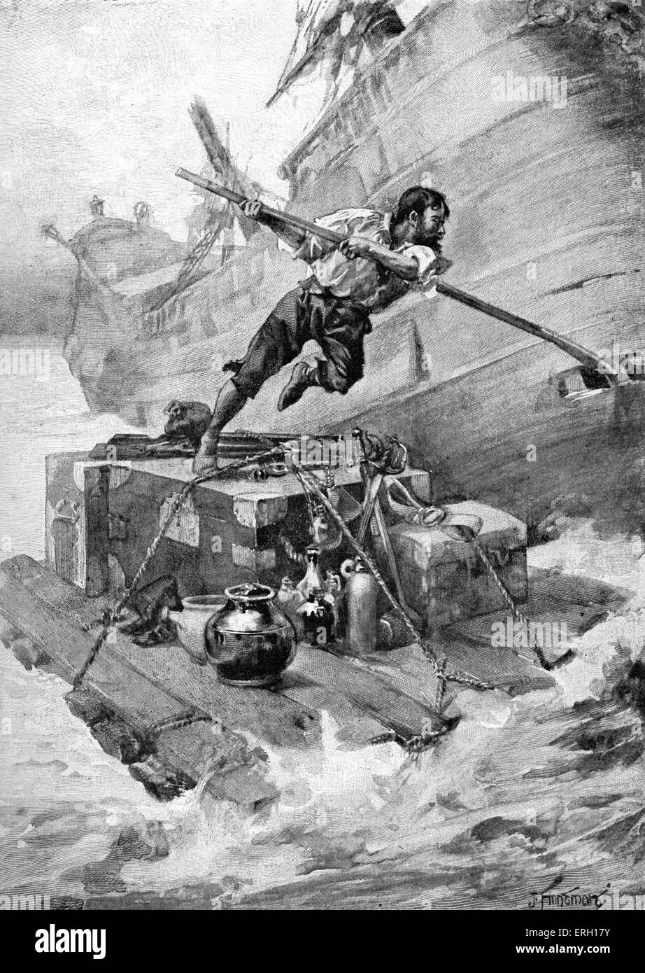 The Life & Adventures of Robinson Crusoe by Daniel Defoe. Caption: With this cargo I put to sea. First publiished - Stock Image