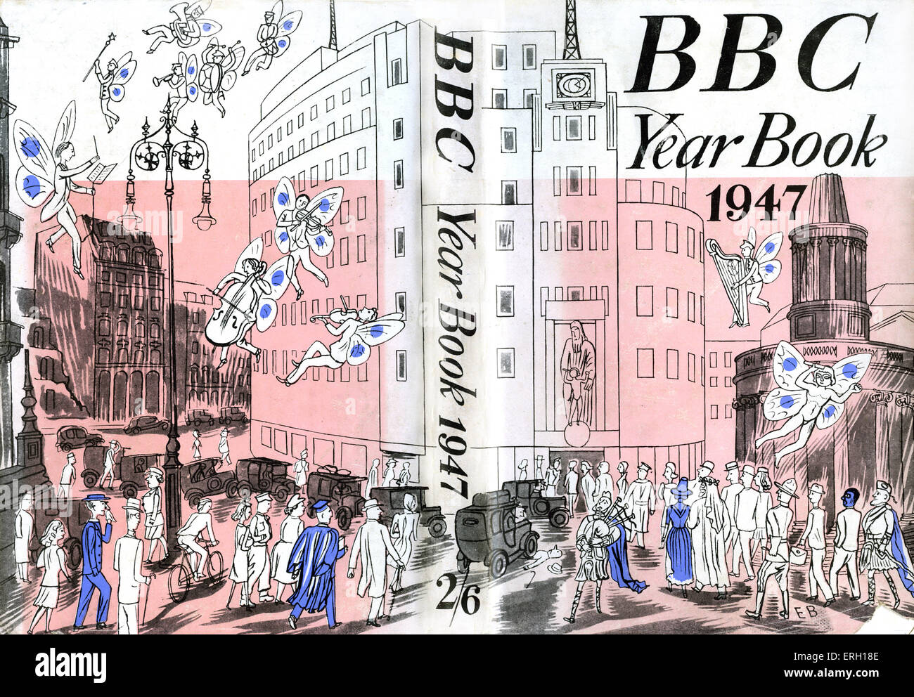 BBC Year Book 1947 (drawing of headquarters in Portland Place, London) - Stock Image