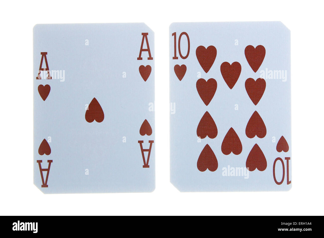 best classic winning blackjack combination ten and ace of hearts - Stock Image