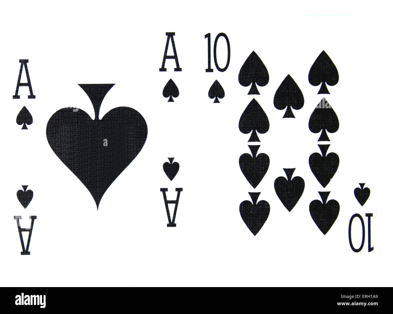 best classic winning blackjack combination ten and ace of spades - Stock Image