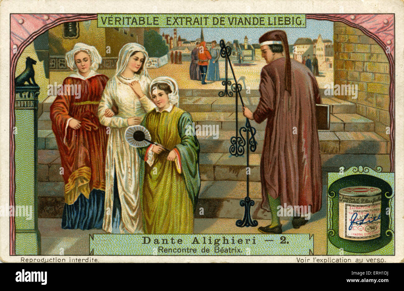 Dante Alighieri meets Beatrice. He met her in 1274 in Florence when he was only 9 years old. She was object of his - Stock Image