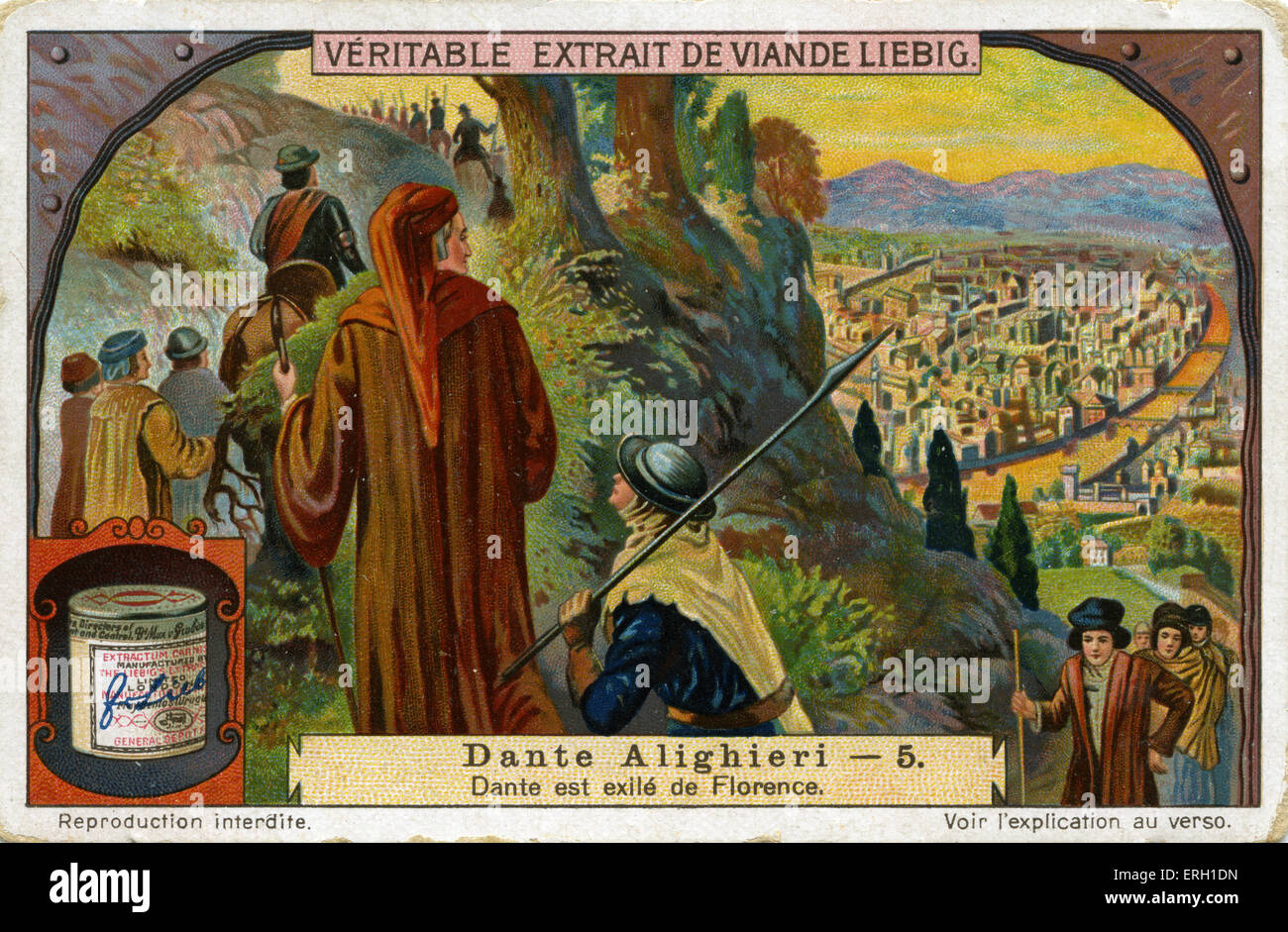 Dante Alighieri 's Exile from Florence. The sentence was passed in early 1302. Pope Boniface VIII involved in - Stock Image