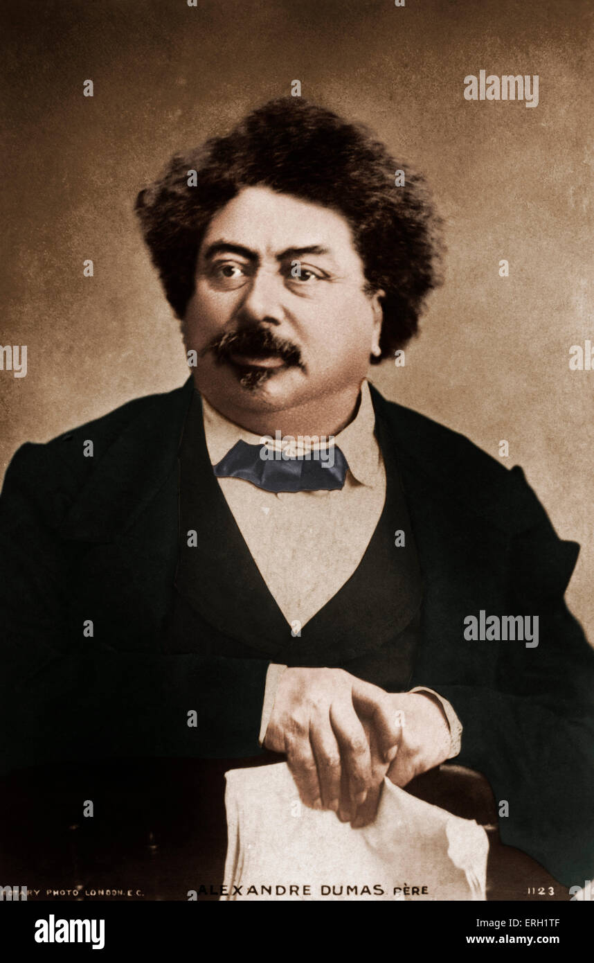 Alexandre Dumas père, portrait, French author and playwright, 24 July  1802 – 5 December  1870. - Stock Image