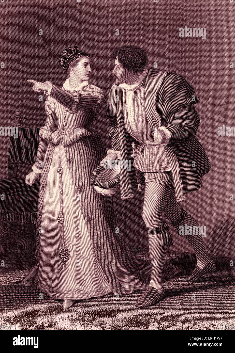 Much Ado About Nothing (Act IV Scene 1), play by William Shakespeare. Benedick and Beatrice. 'Beatrice: Talk with Stock Photo