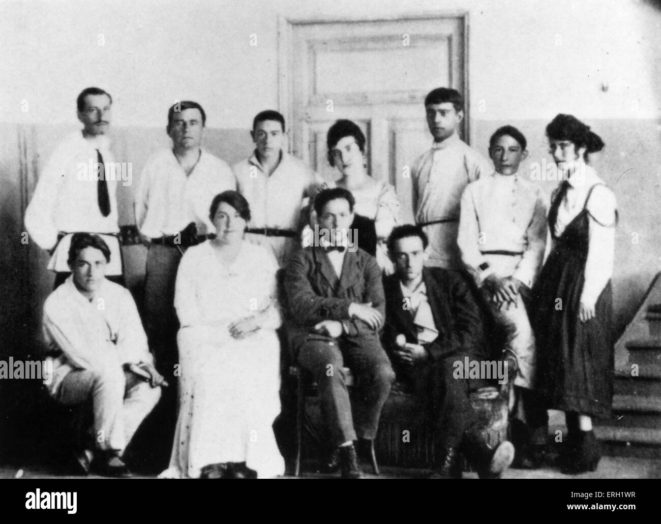 Malevich in Vitebsk, standing second to the left, c 1921. Standing from left to right: P Chervinko, K S Malevich, - Stock Image