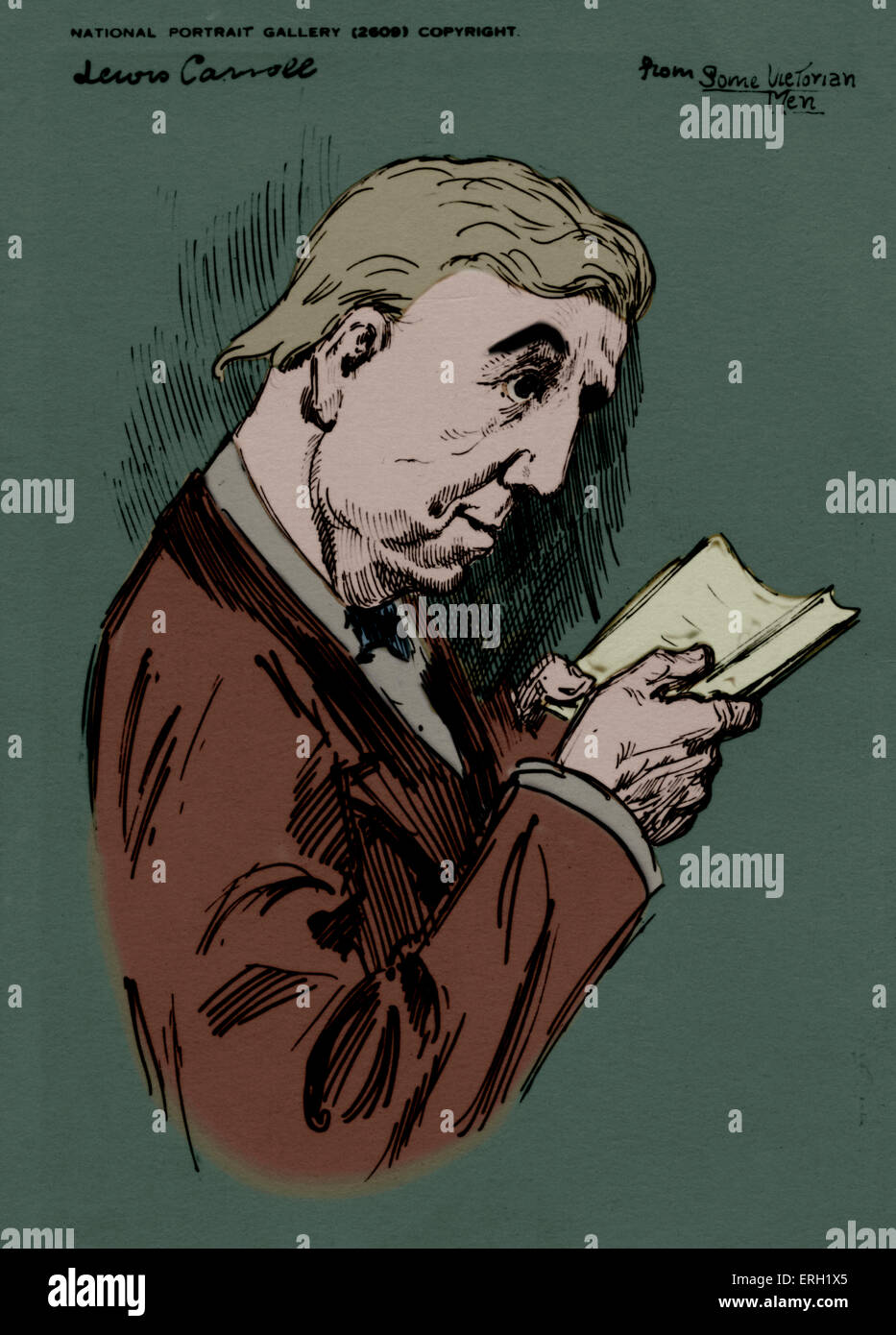 Lewis Carroll - portrait of the British author reading, real name Charles Lutwidge Dodgson. 27 January 1832 - 14 - Stock Image