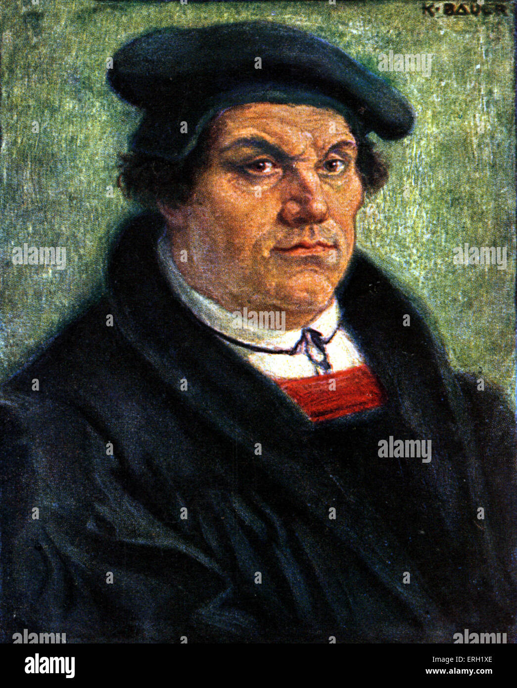 Martin Luther by Karl Bauer German reformer and amateur musician, 1483-1546. - Stock Image