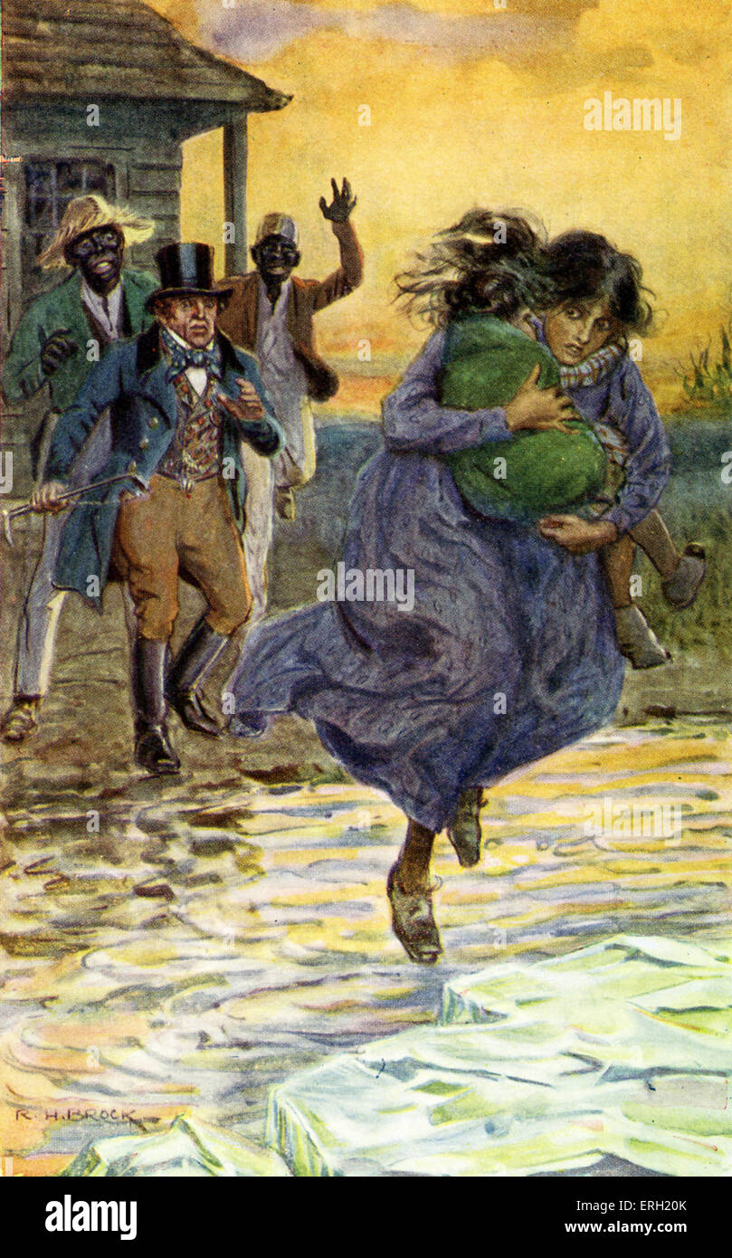 Uncle Tom's Cabin -  written by Harriet Beecher Stowe. Caption reads 'It was a desperate leap - impossible to anything Stock Photo