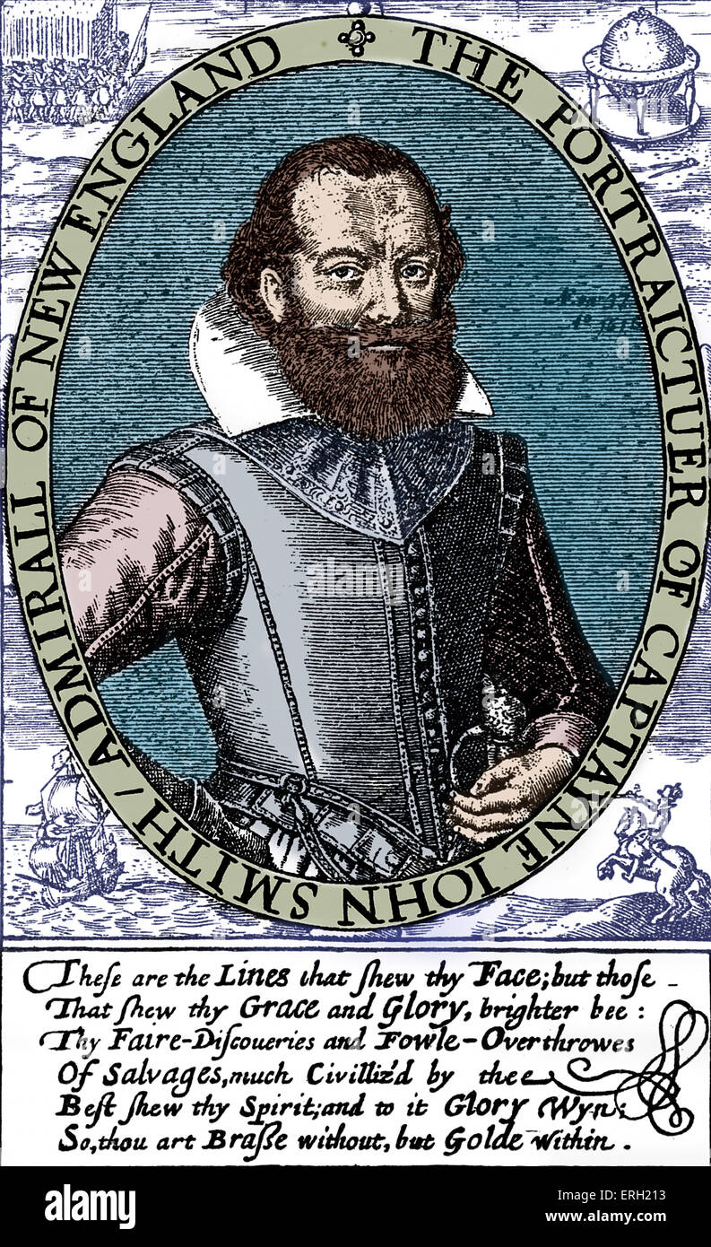 John Smith - portrait of the English captain, sailor and author: 1580 -  21 June 1631. Engraving from 'Travels - Stock Image