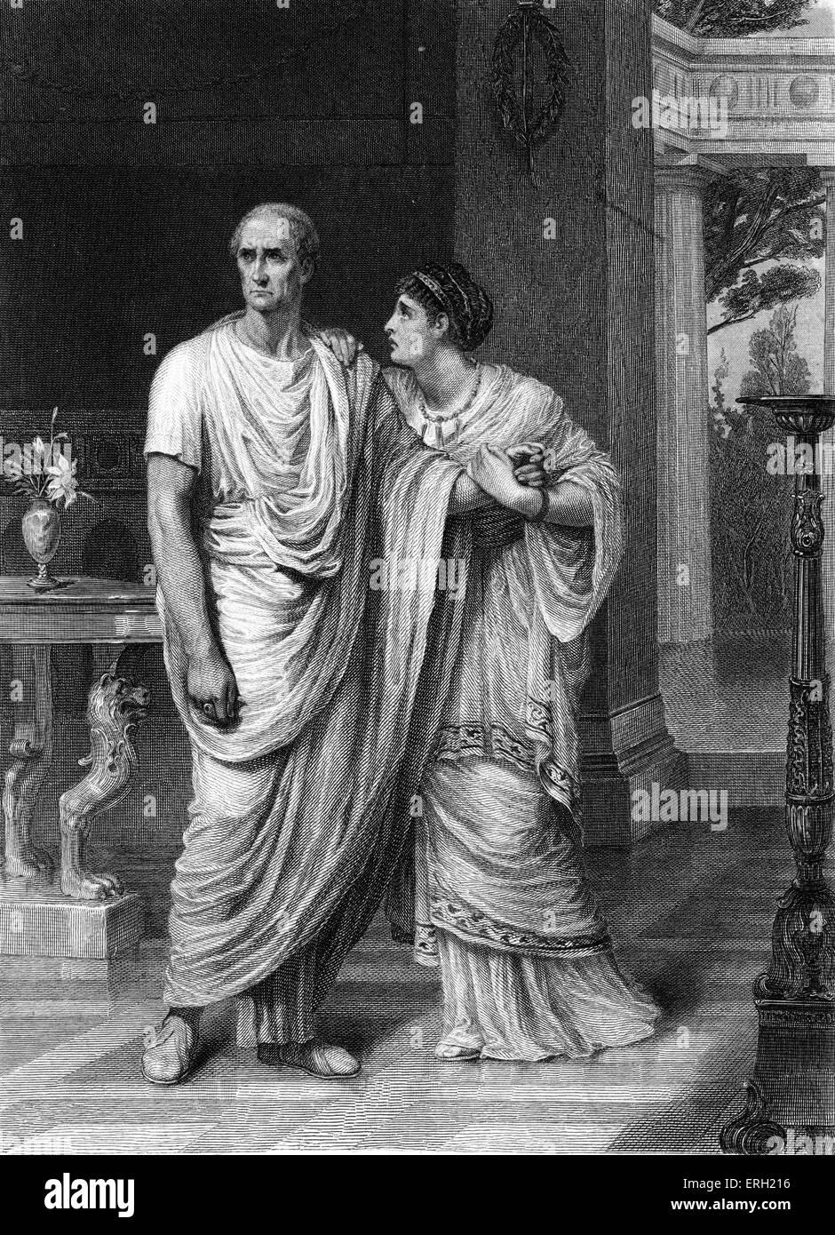 Julius Caesar (Act II Scene 2), play by William Shakespeare. Julius Caesar and Calphurnia. 'Calphurnia: ' - Stock Image