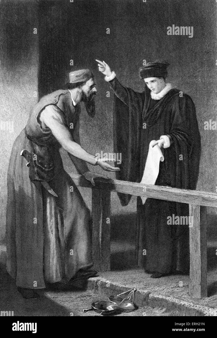 Merchant of Venice (Act IV Scene 1), play by William Shakespeare. Portia and Shylock. 'Portia: nay, if the scale - Stock Image