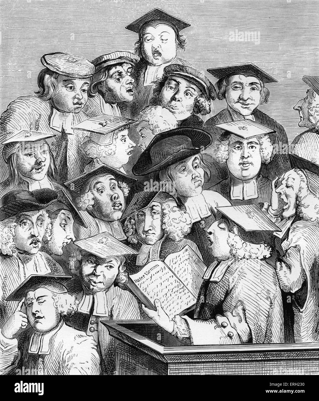 Alma Mater, (also known as 'Scholars at a Lecture'), (c 1736 / 7), engraving by William Hogarth. A professor, - Stock Image