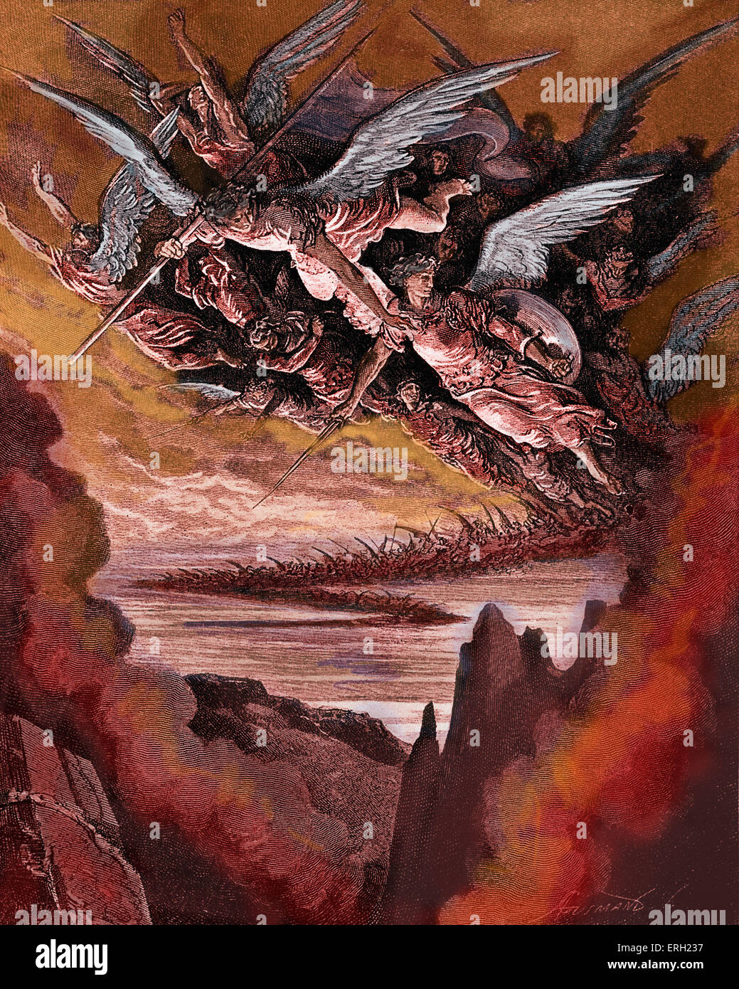 Paradise Lost was first published in 1674. Caption: So numberless were  those bad angels seen hovering on wing under the cope of hell. Illustration  by Doré.