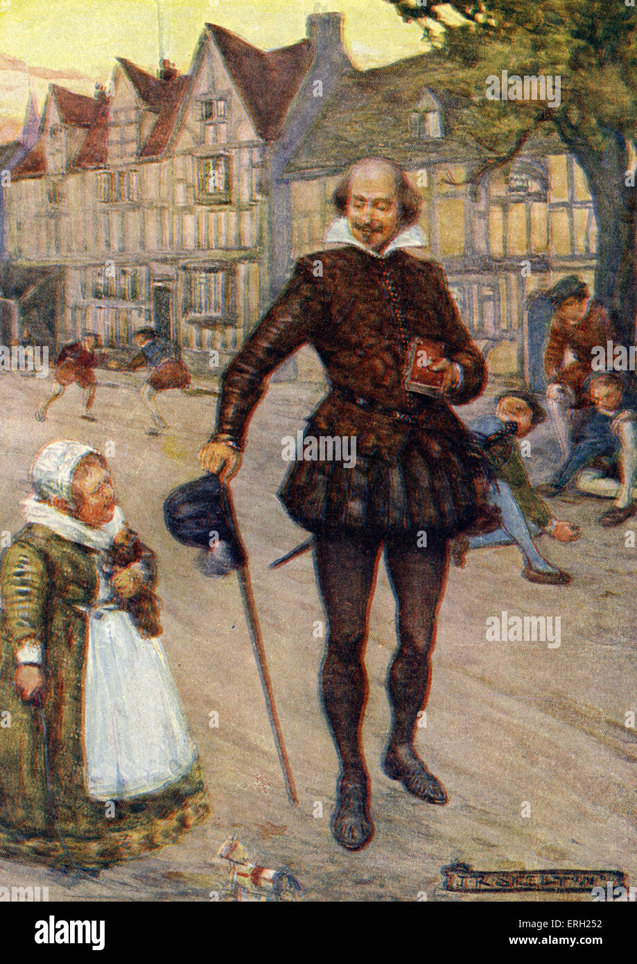 William Shakespeare in an Elizabethan street scene. Caption reads: 'Children, we feel sure, did not stop their - Stock Image