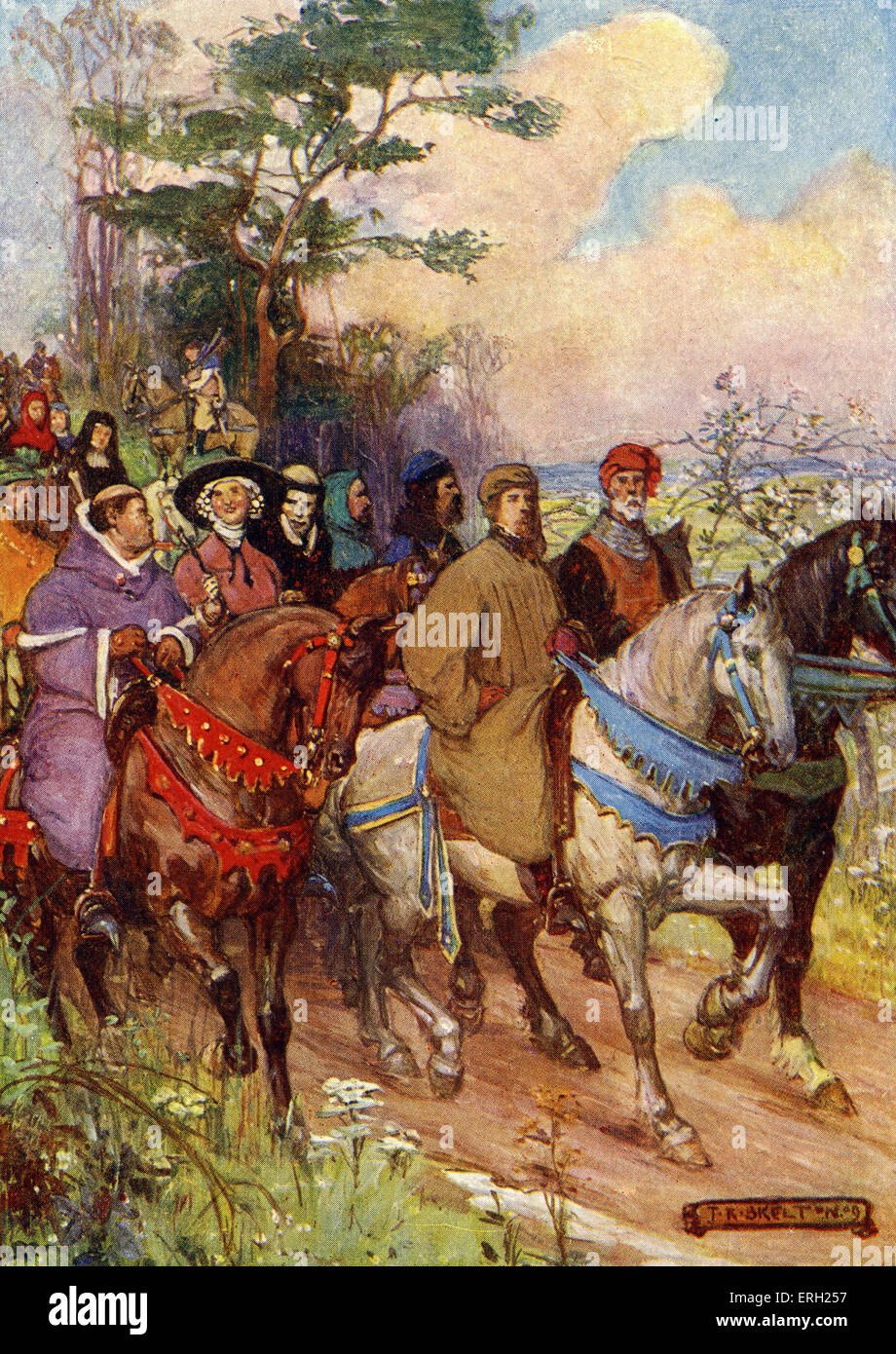 Geoffrey Chaucer. Caption reads: 'It is a company of pilgrims such as this that Chaucer paints for us, he himself Stock Photo