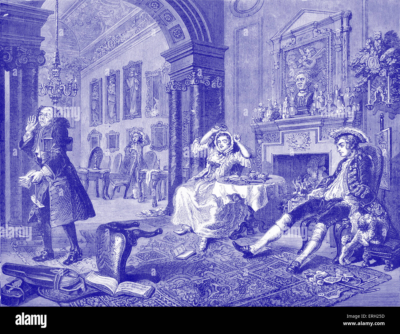 Marriage a la Mode - The morning after the grand entertainment. Engraving by William Hogarth, English artist, painter - Stock Image