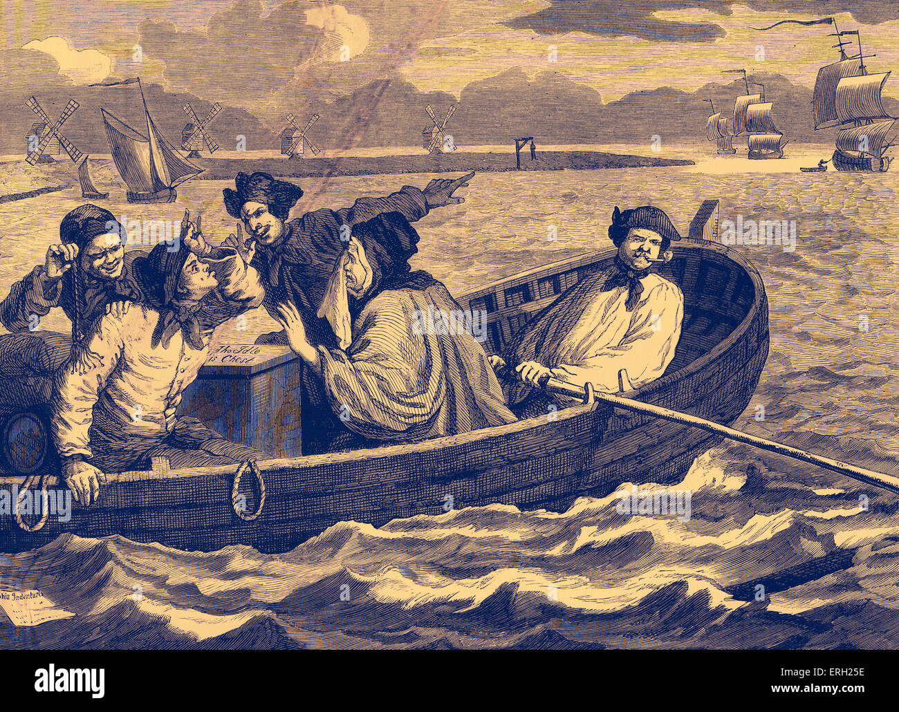 Industry and Idleness - The Idle Apprentice Sent to Sea. Engraving by William Hogarth. Tom Idle at sea, having been - Stock Image