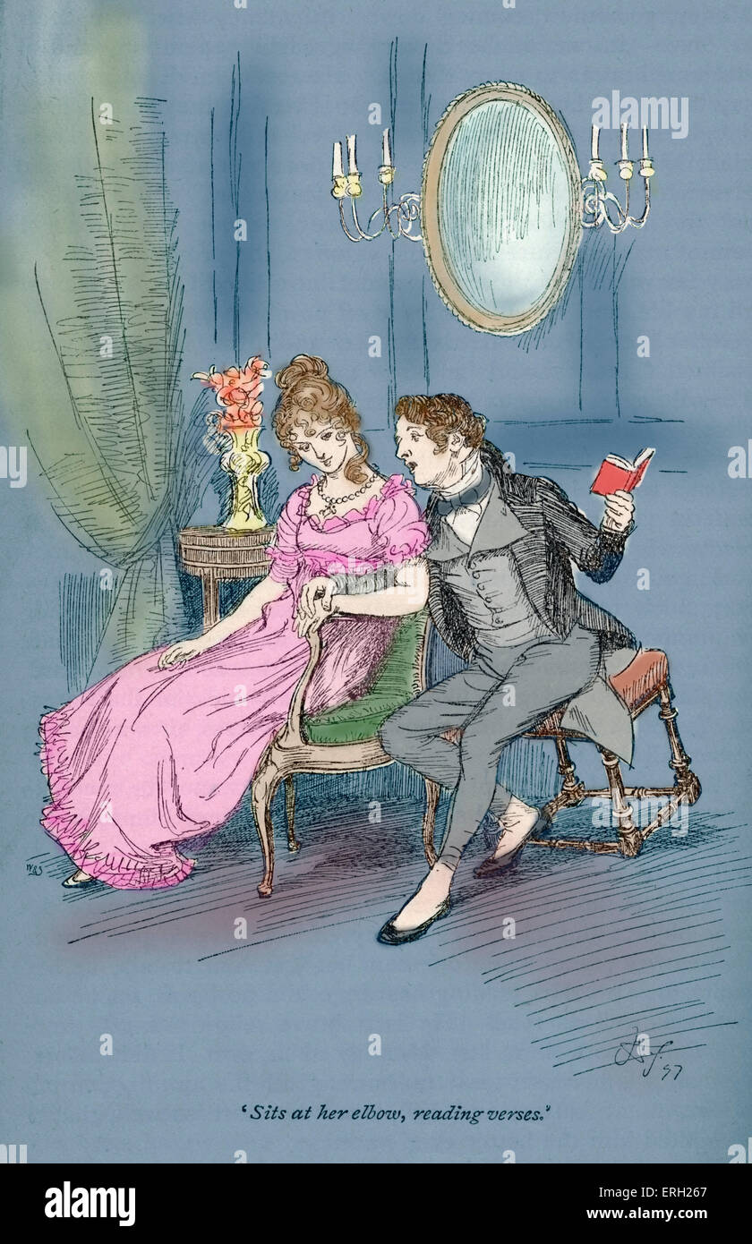 Jane Austen' s novel  ' Persuasion' - Written 1816 and published 1818.  Caption reads: ' Sits at - Stock Image