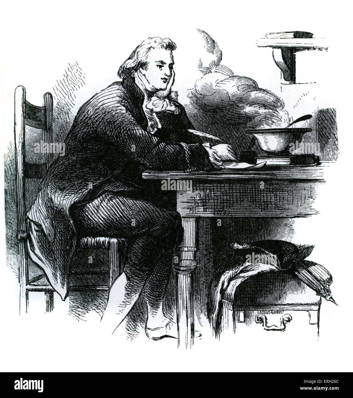 Joel Barlow writing the Hasty Pudding in a Savoyard inn in France. American poet and politician: 24 March 1754 – - Stock Image