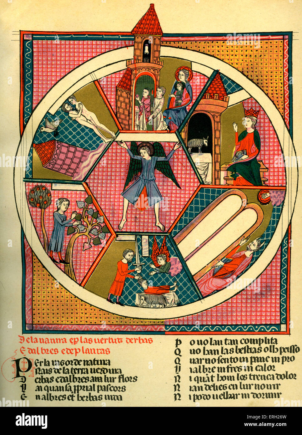 Psalter of the Duke of Berry. Early 15th century psalter.Shows scenes from Old testament, Abraham about to sacrifice - Stock Image