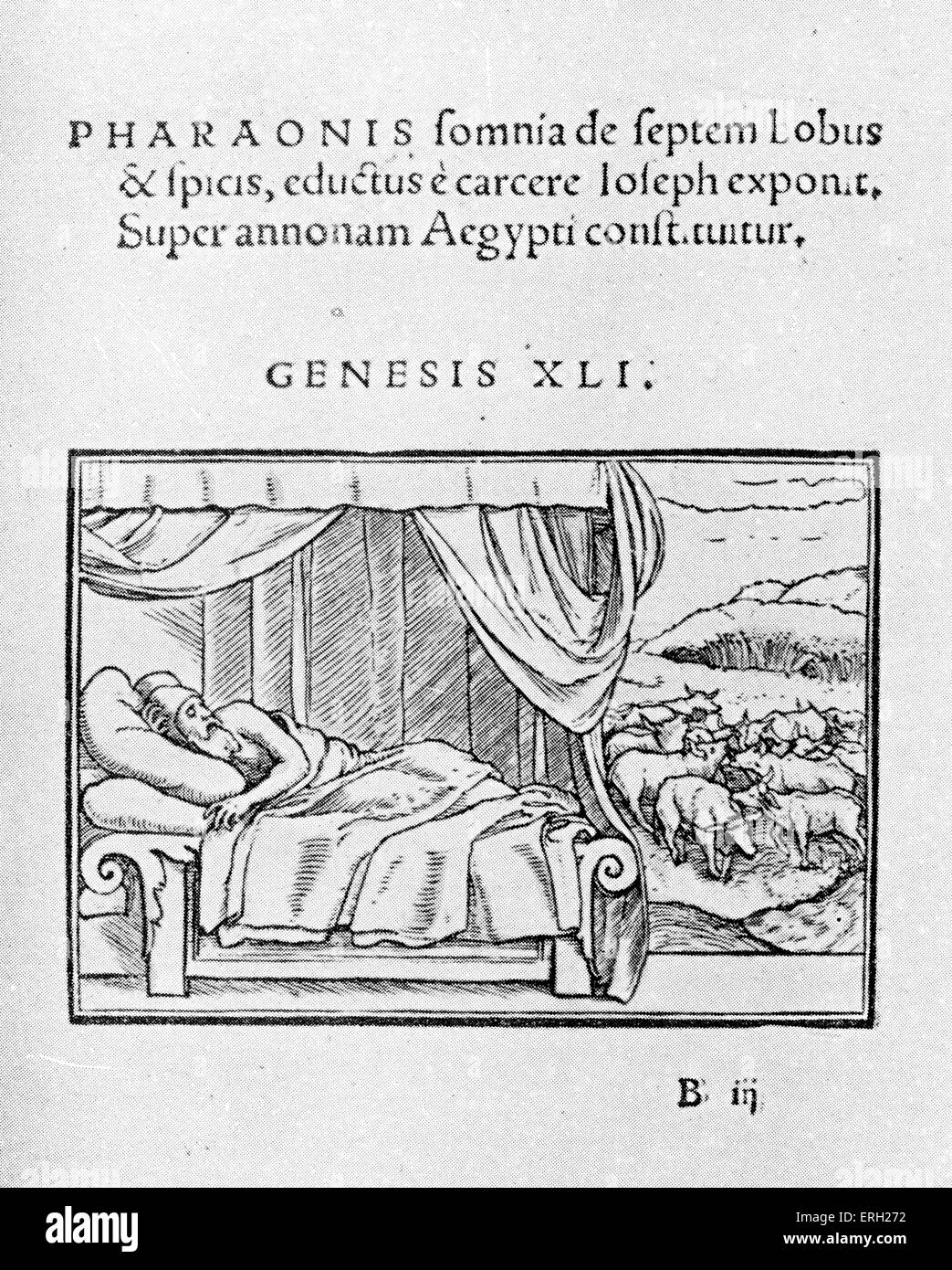 Pharoah's dream of seven lean and seven fat cows. Woodcut by  Luetelburger after Holbein.  From Historiarum - Stock Image
