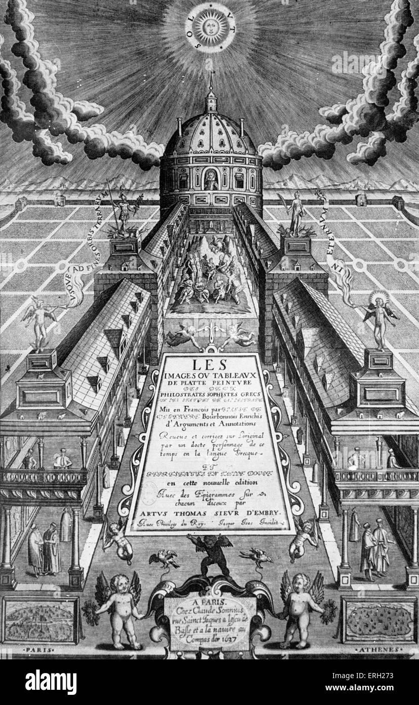 'Tableux de platte peinture des deux Philostrates.' Cover. 1637, published Claude Sonnius,  Paris, Stock Photo