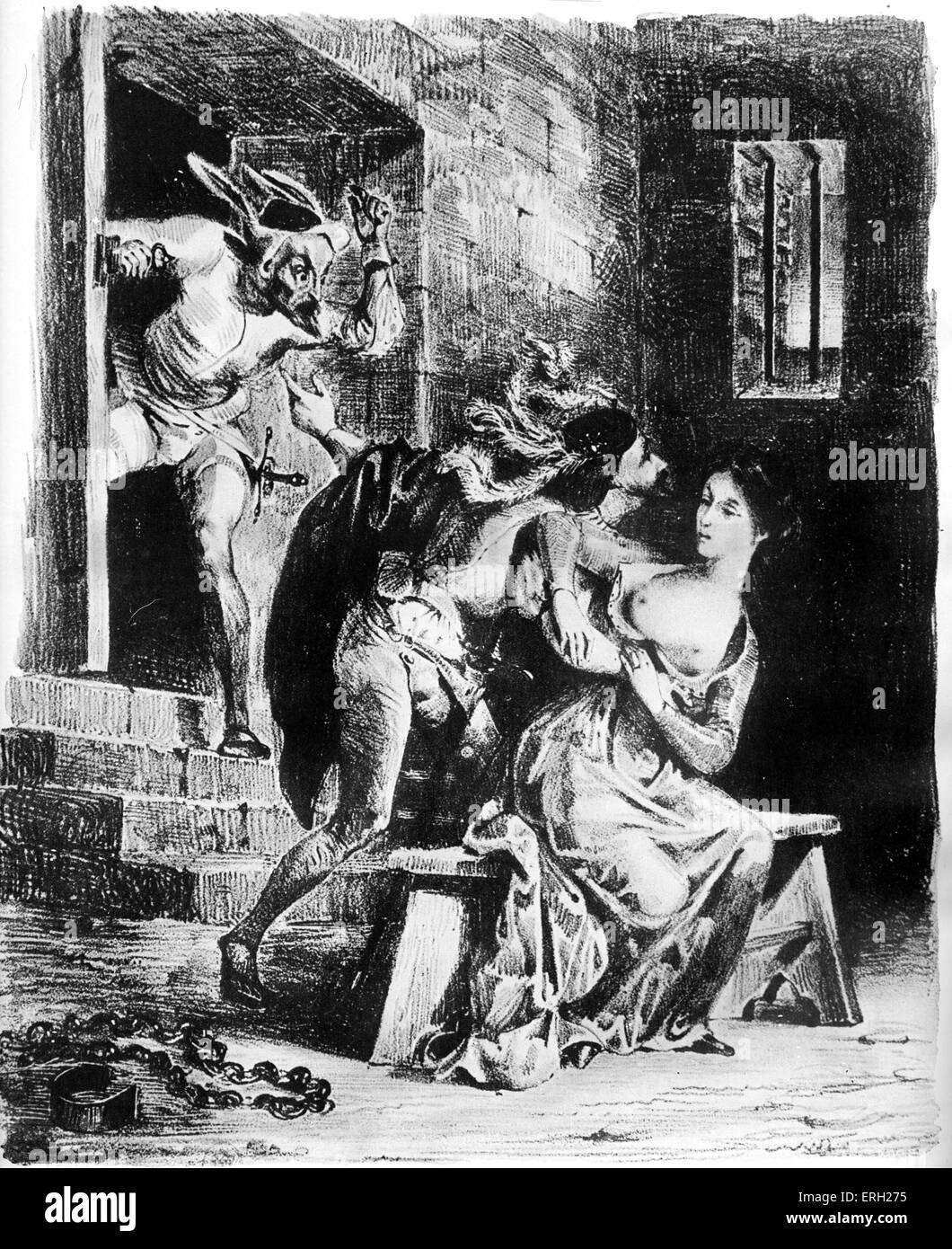 Faust by Goethe. Gretchen repels Faust, who seeks to rescue her from prison. Illustration by Eugene Delacroix (1798 - Stock Image