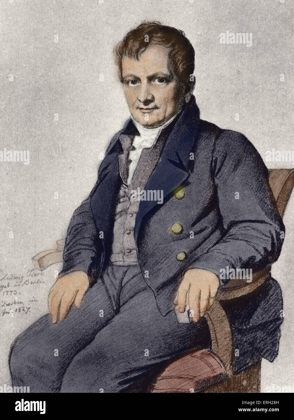 Ludwig Tieck portrait - after painting by K C Vogel von Vogelstein. German writer on Shakespeare 31 st May 1773 - Stock Image
