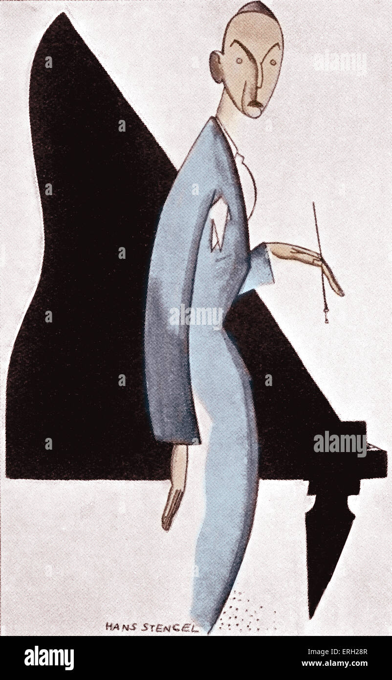Noel Coward caricature by Hans Stengel.  Capion reads 'Philosopher of Us Moderns.' American cartoonist 1894 - Stock Image