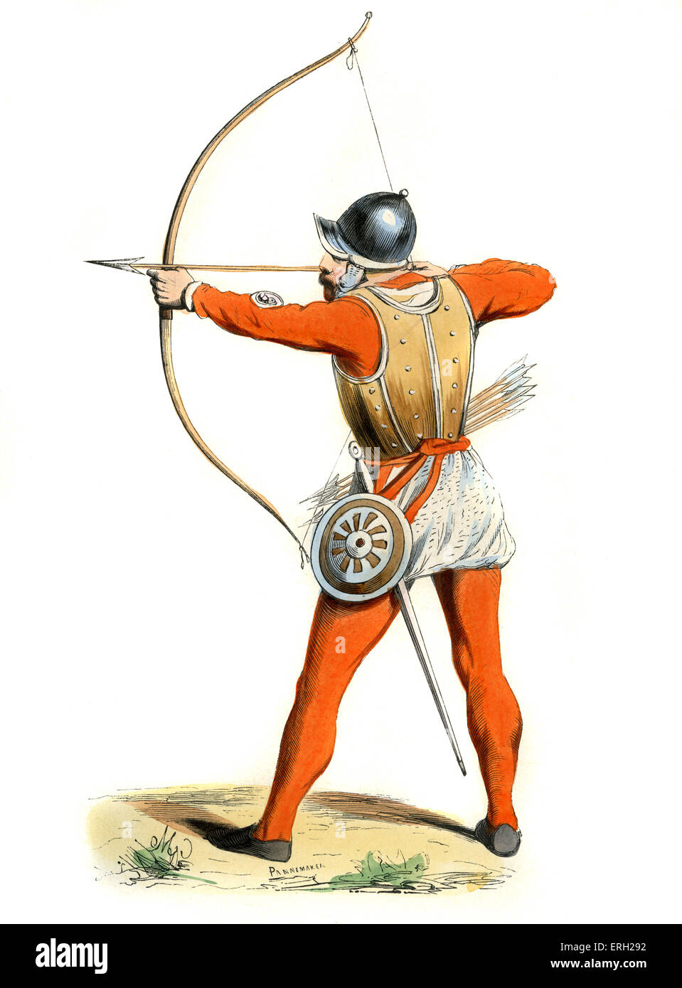 English archer of 15th century  with bow and arrow. These well trained troops would have fought at Agincourt. c. - Stock Image