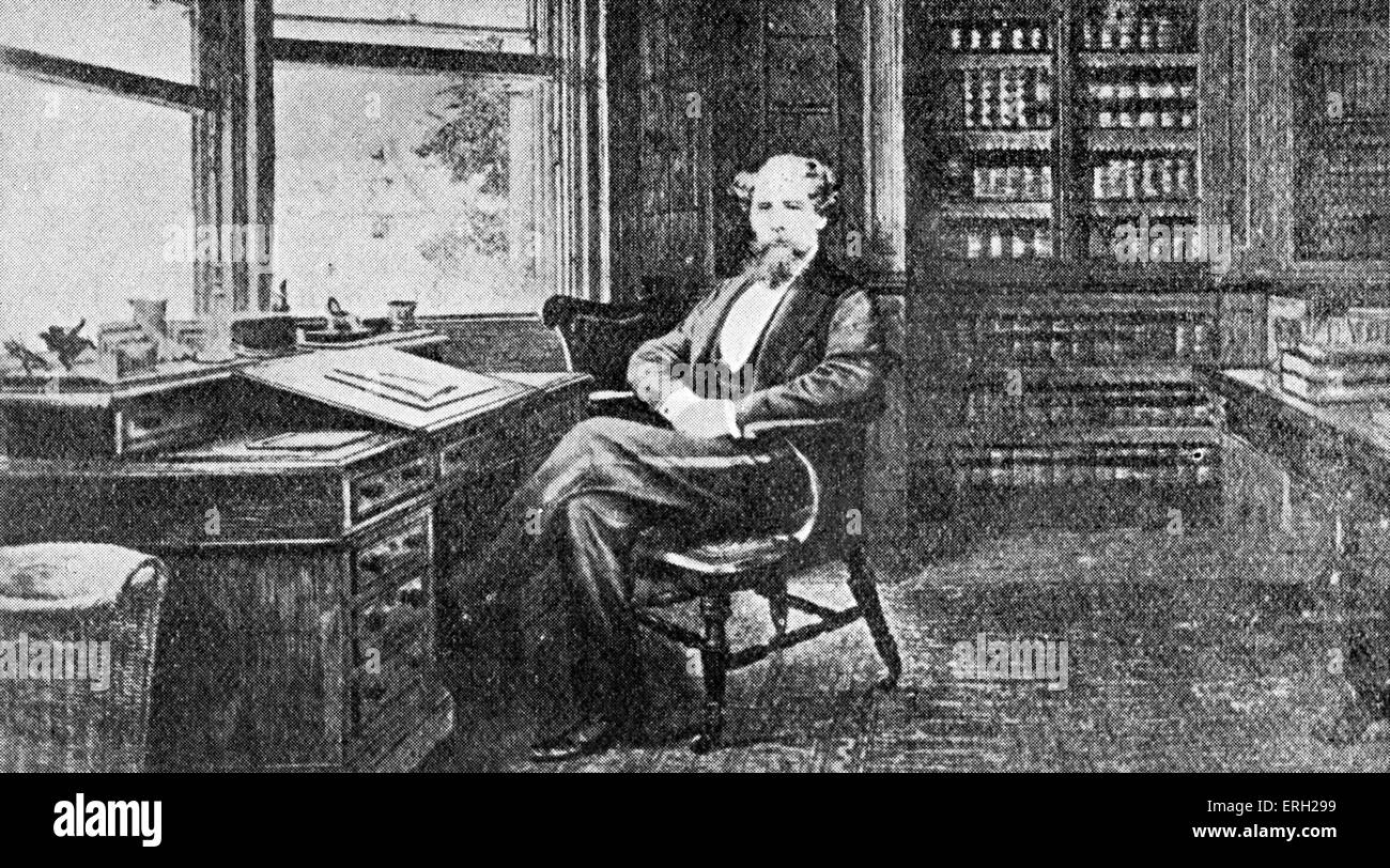 Charles Dickens portrait  in his study at Gads Hill. British novelist,  7 February 1812 - 9 June 1870. - Stock Image