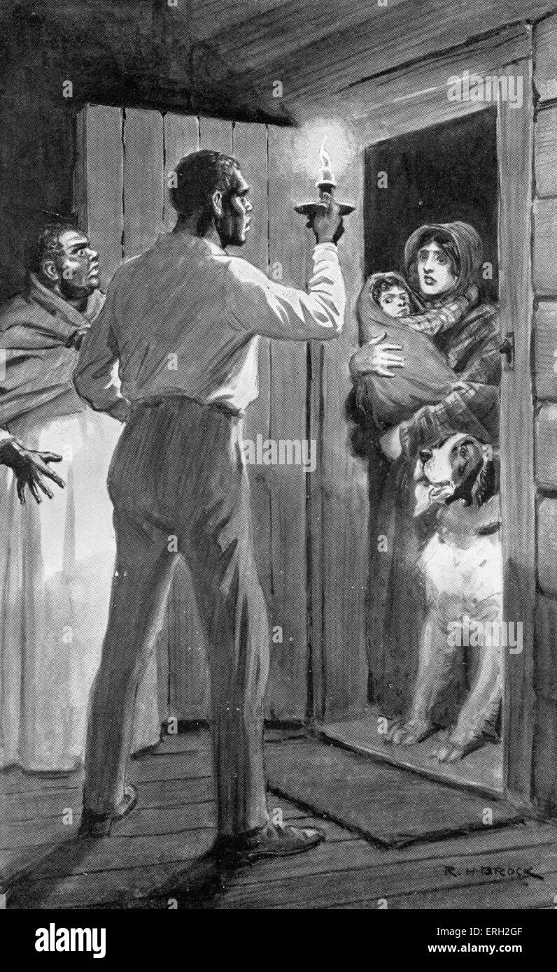 Uncle Tom 's Cabin -  written by Harriet Beecher Stowe. Caption reads ' I'm running away, Uncle Tom - Stock Image
