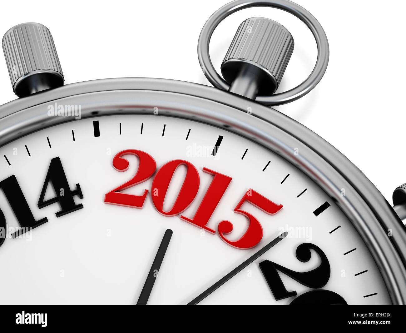 2015 text on chronometer - Stock Image