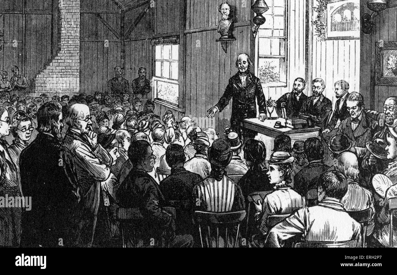 Bronson Alcott lecturing  at Concord School of Philosophy, American teacher and writer, father of Louisa May Alcot. - Stock Image