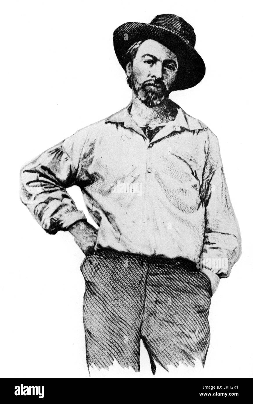 Walt Whitman c. 1855. American poet and essayist,  31 May 1819 – 26 March 1892. (this portrait accompanied first - Stock Image