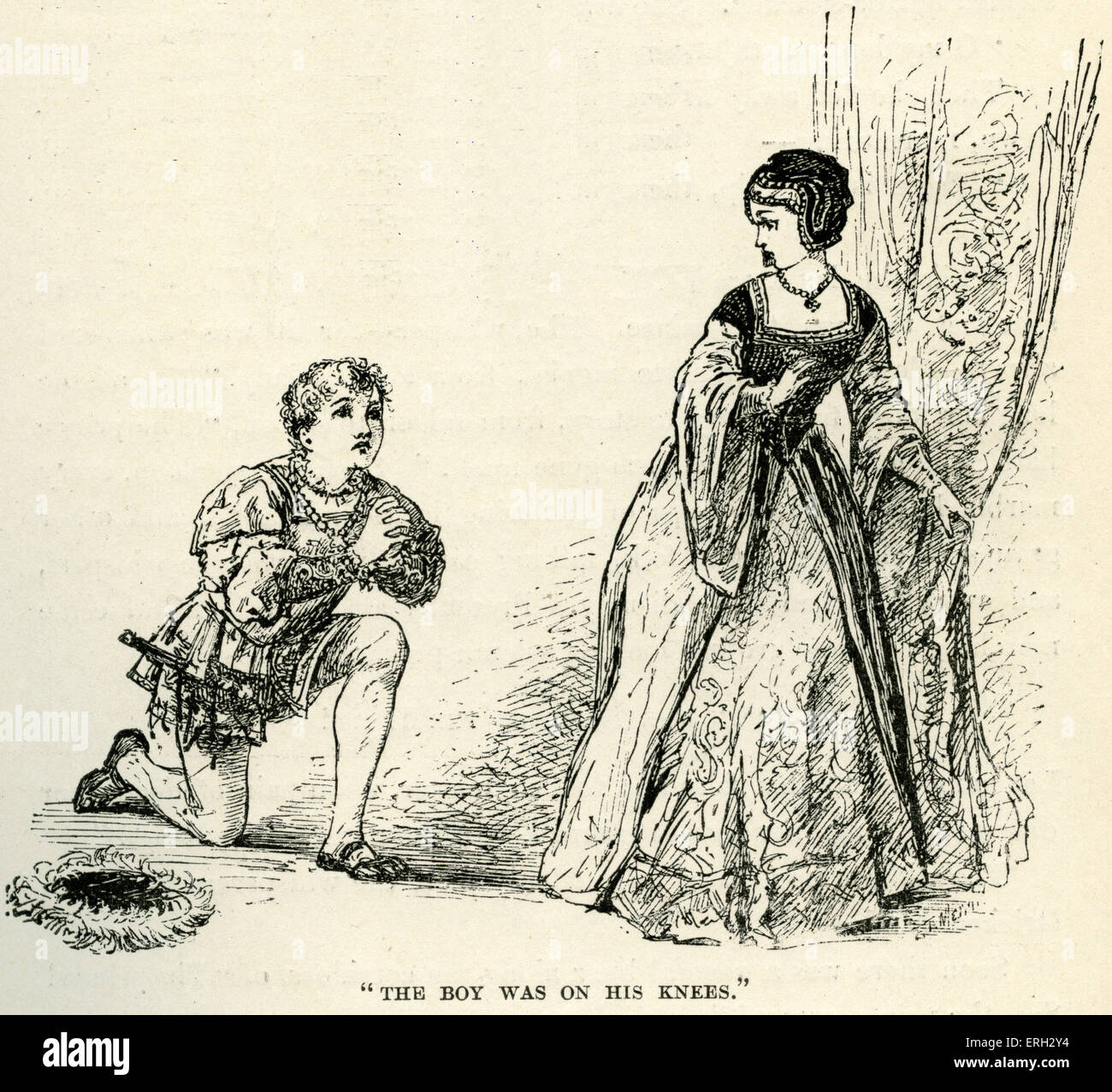'The Prince and the Pauper' by Mark Twain.     First published in 1881. Tom drops to his knees out of respect - Stock Image