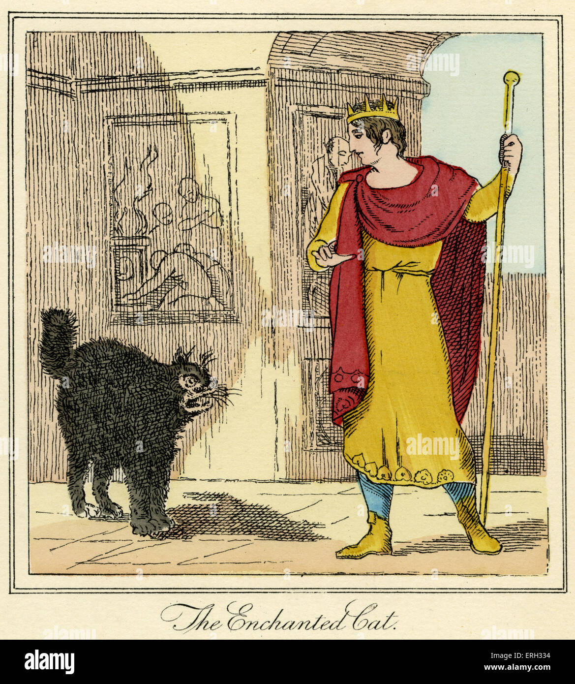 'The Enchanted Cat' - The King encounters the cat. From 'Prince Dorus: or Flattery Put Out of Countenance', - Stock Image