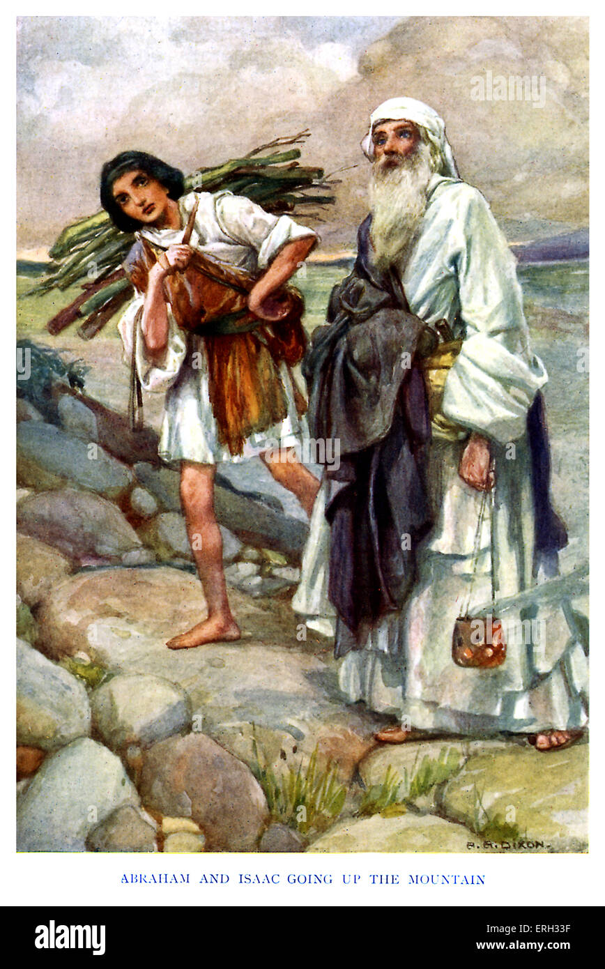 Isaac - caption reads, 'Abraham and Isaac going up the mountain.' Genesis chapter 22: Abraham prepares to - Stock Image
