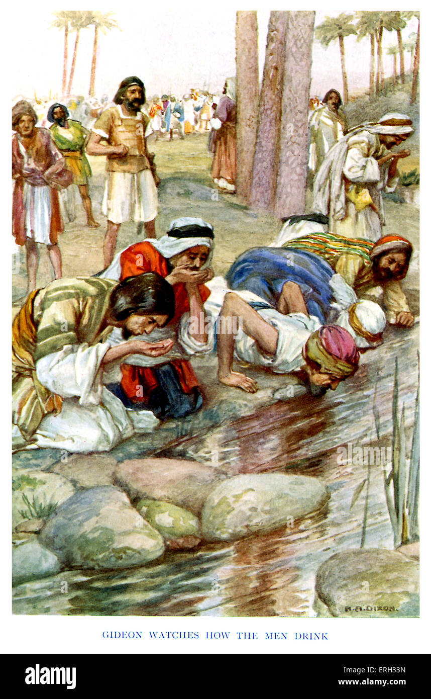 The Call of Gideon - caption reads, 'Gideon watches how the men drink.' Judges 7:5, ' So he brought down the people Stock Photo