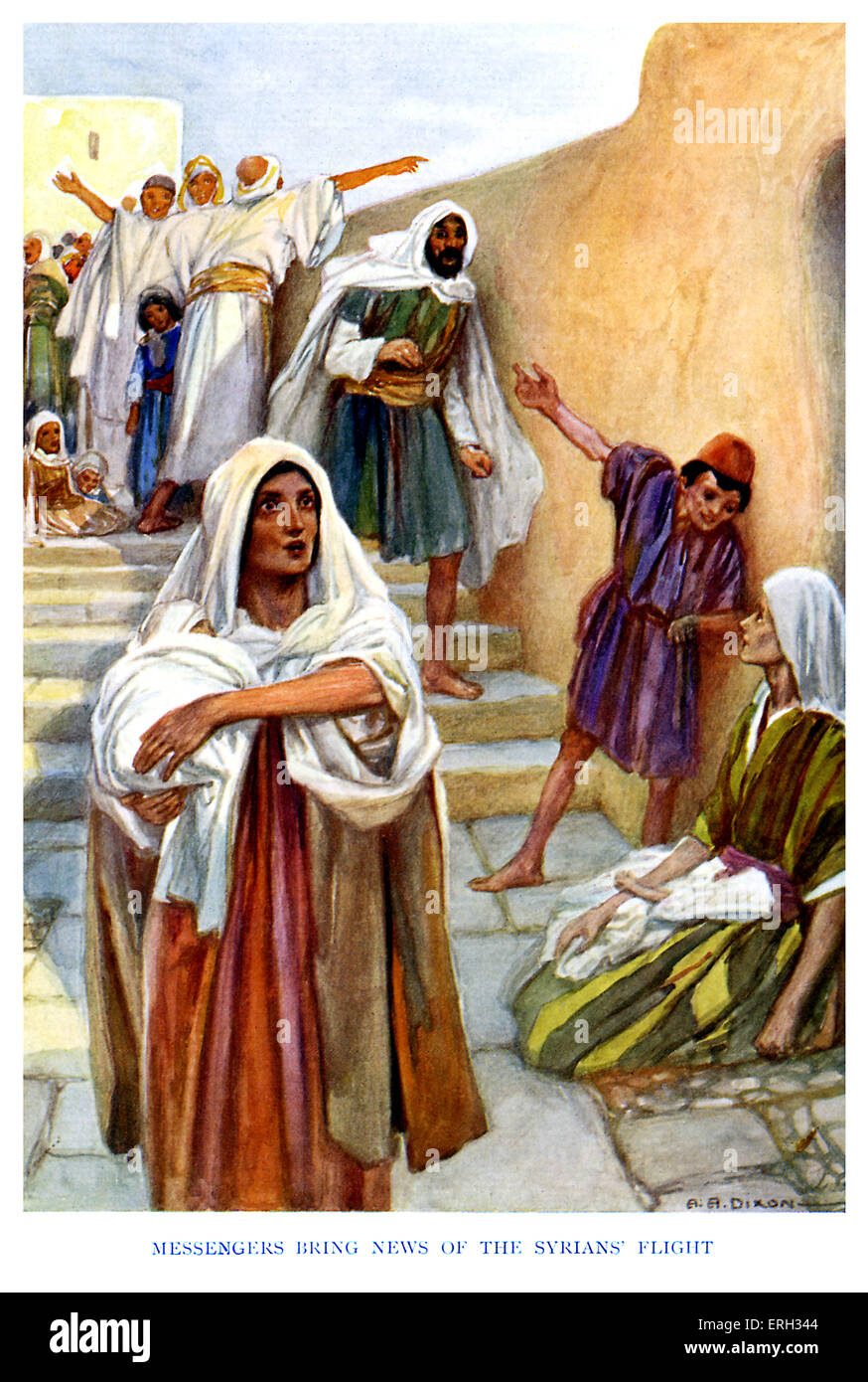 Elisha 's Prophecy - caption reads, 'Messengers bring news of the Syrians' flight.' Kings 7:15, - Stock Image